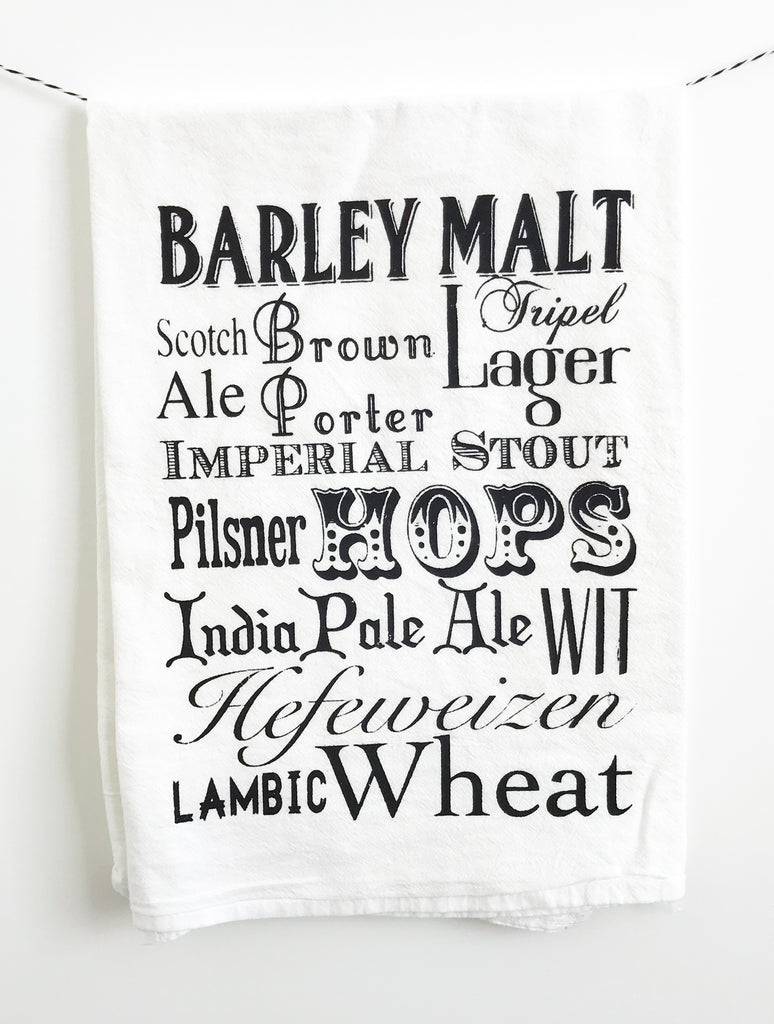 Beer Words Cotton Kitchen Towel - The Coin Laundry Print Shop