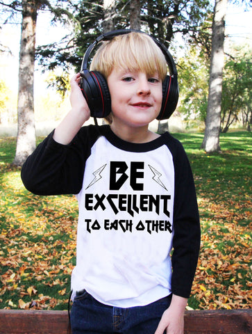 Be Excellent To Each Other Kids Baseball Tee - Black
