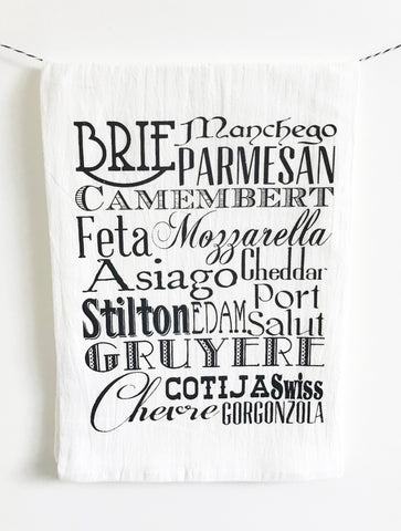 Cheese Words Cotton Kitchen Towel