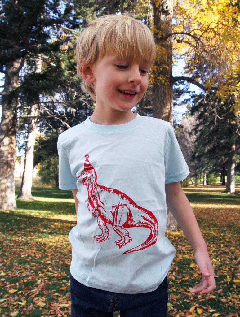 Dinosaur Birthday Hat Toddler Kids Tee - Blue