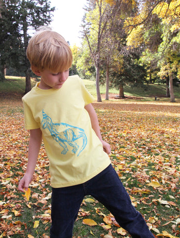 Dinosaur Birthday Hat Toddler Kids Tee - Yellow
