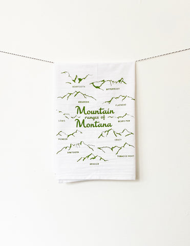 Mountain Ranges of Montana Cotton Kitchen Towel