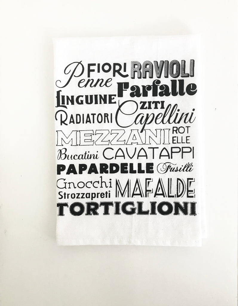 Pasta Words Cotton Kitchen Towel