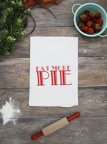 Eat More Pie Cotton Kitchen Towel - Red