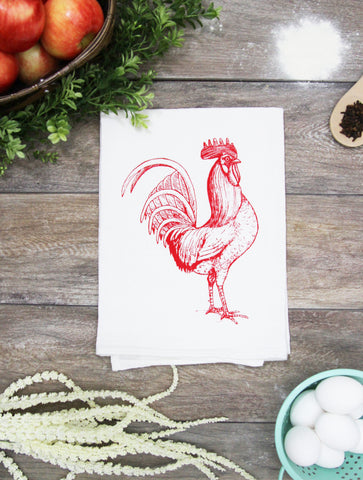 Rooster Kitchen Towel - Red