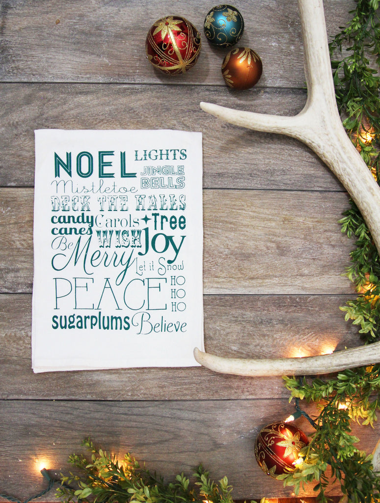 Christmas Words Kitchen Towel - Green