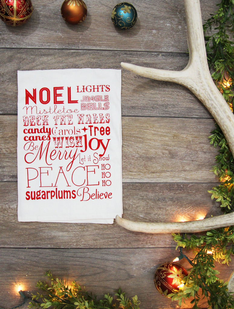 Christmas Words Kitchen Towel - Red