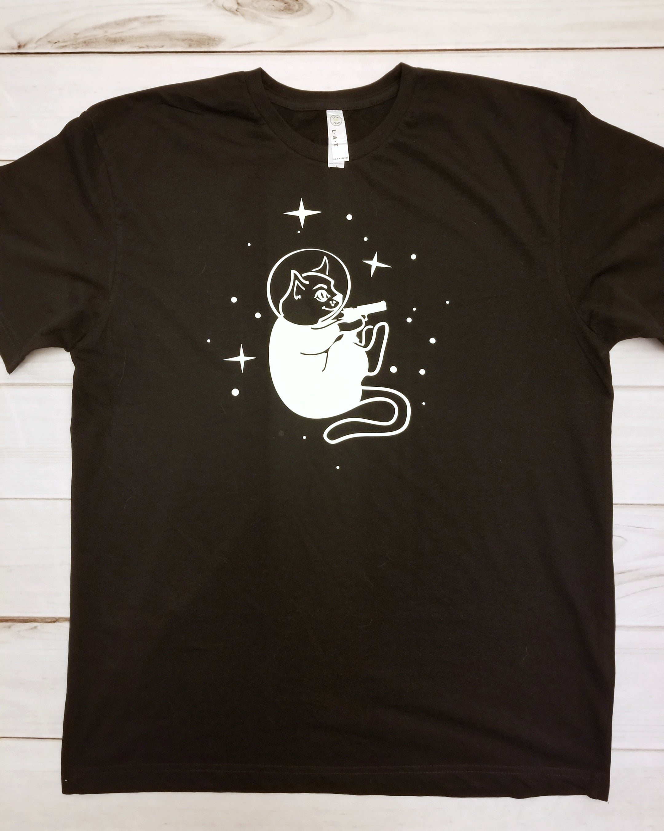 Men's Crew Neck Tee - Glow in the Dark Space Cat