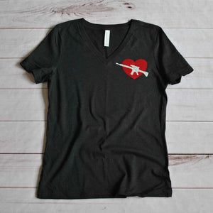 Women's V Neck Tee - Modern Cupid