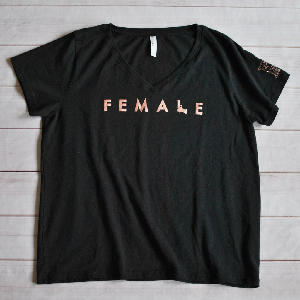 Women's Curvy V Neck Tee - Firearm Female