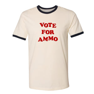 Vote for Ammo. Napoleon Dynamite styled ringer tee. Primer and Co. 2A Gun shirts