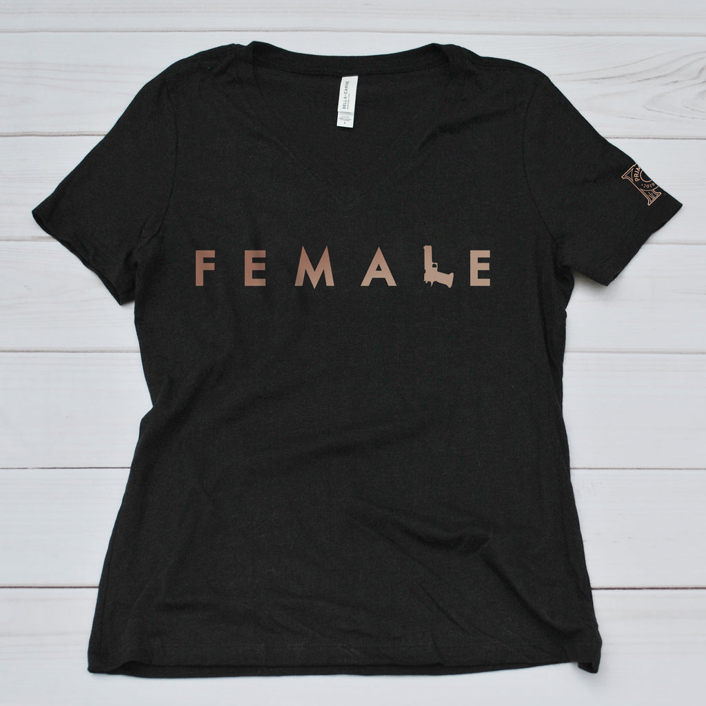 Women's V Neck Tee - Firearm Female
