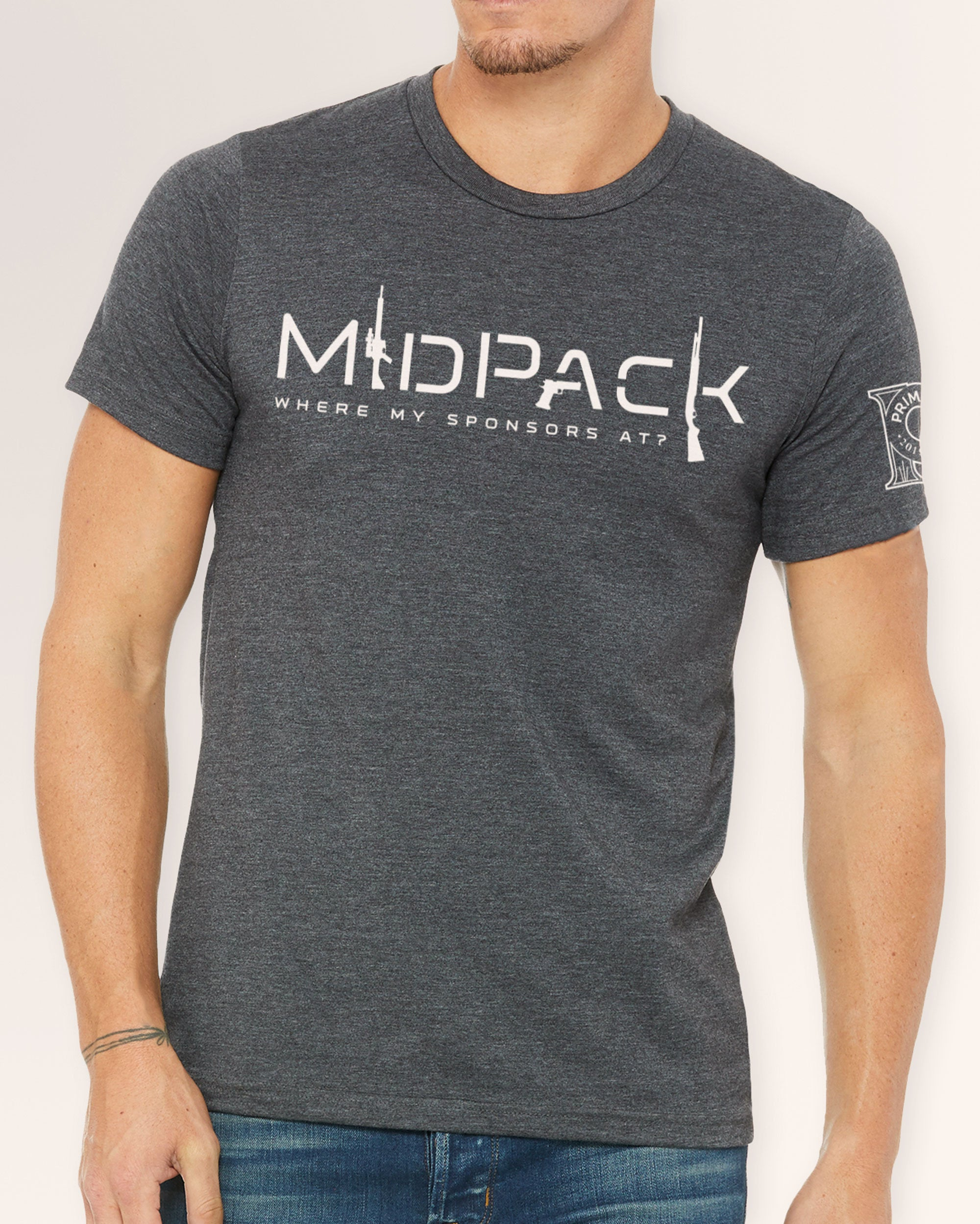 Men's Crew Neck Tee - Mid Pack Where My Sponsors At?