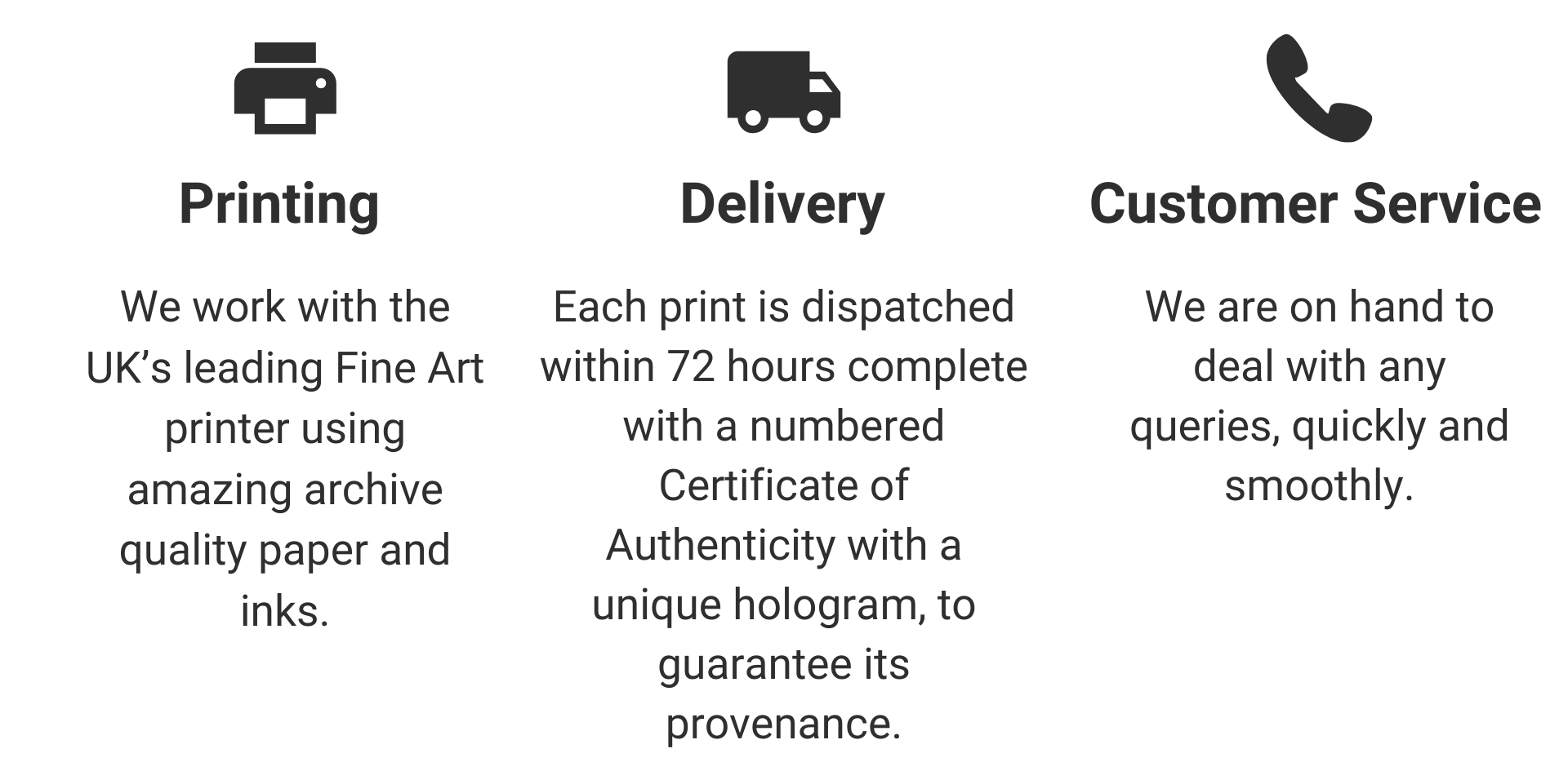 Printing 	Delivery	Customer Service  We work with the UK's leading Fine Art printer using amazing archive quality paper and inks. 	Each print is dispatched within 72 hours complete with a numbered Certificate of Authenticity with a unique hologram, to guarantee its provenance. 	We are on hand to deal with any queries, quickly and smoothly.
