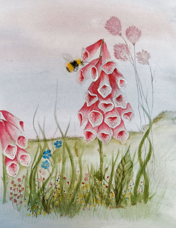 Foxgloves and wild flowers