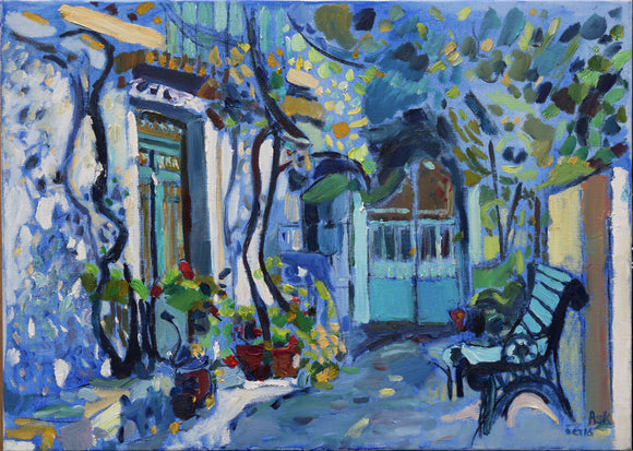 Street Corner Garden on Blue in Crete.