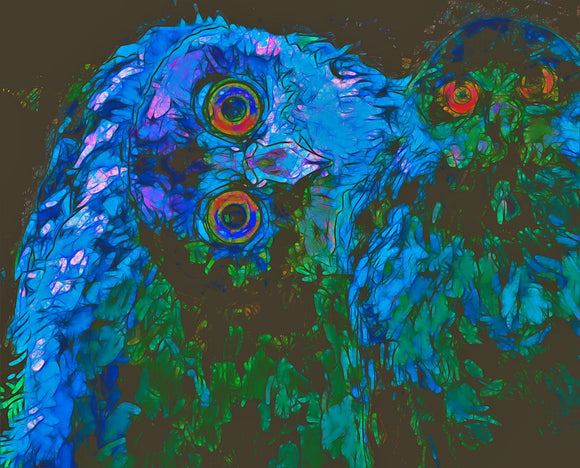 Barking Owls Abstract Blues And Green