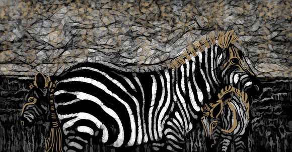 Abstract Zebras Black White And Gold