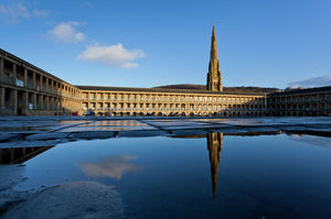 Piece Hall Halifax after a heavy shower
