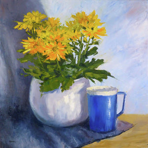 Yellow Chrysanthemums And Blue Mug