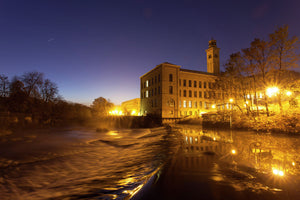 New Mill Saltaire and The River Aire at night