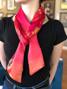 Red Ombre Silk Scarf