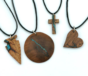 Adjustable Wooden Pendant Necklace with Epoxy Design