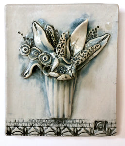 Ceramic Tile, Glazed Vase of Flowers
