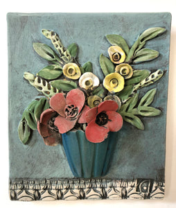 Ceramic Tile, Vase with Flowers