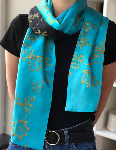 Teal + Black Silk Scarf