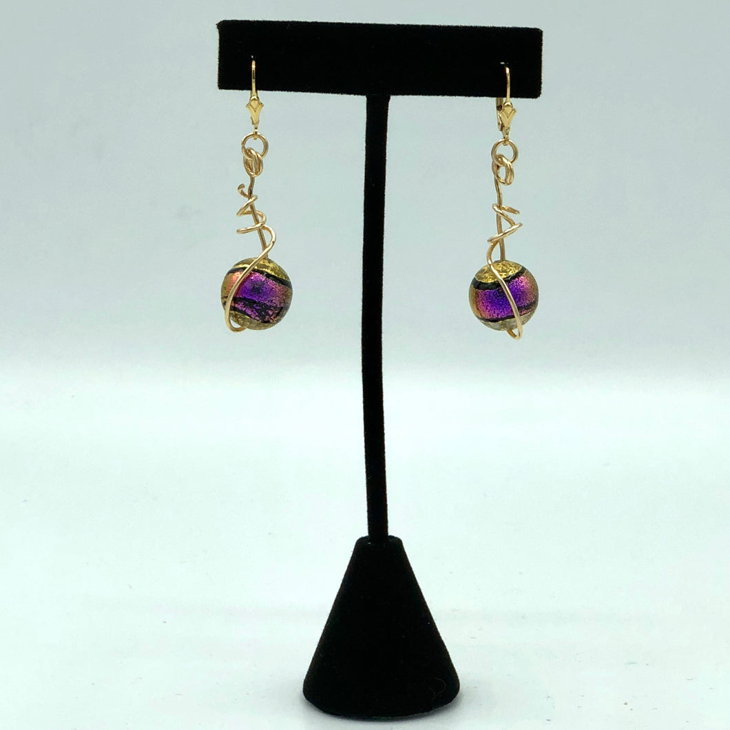 Fuchsia Murano Earrings