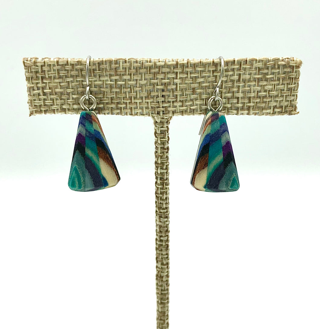 Featherwood Mosaic Triangle Earrings