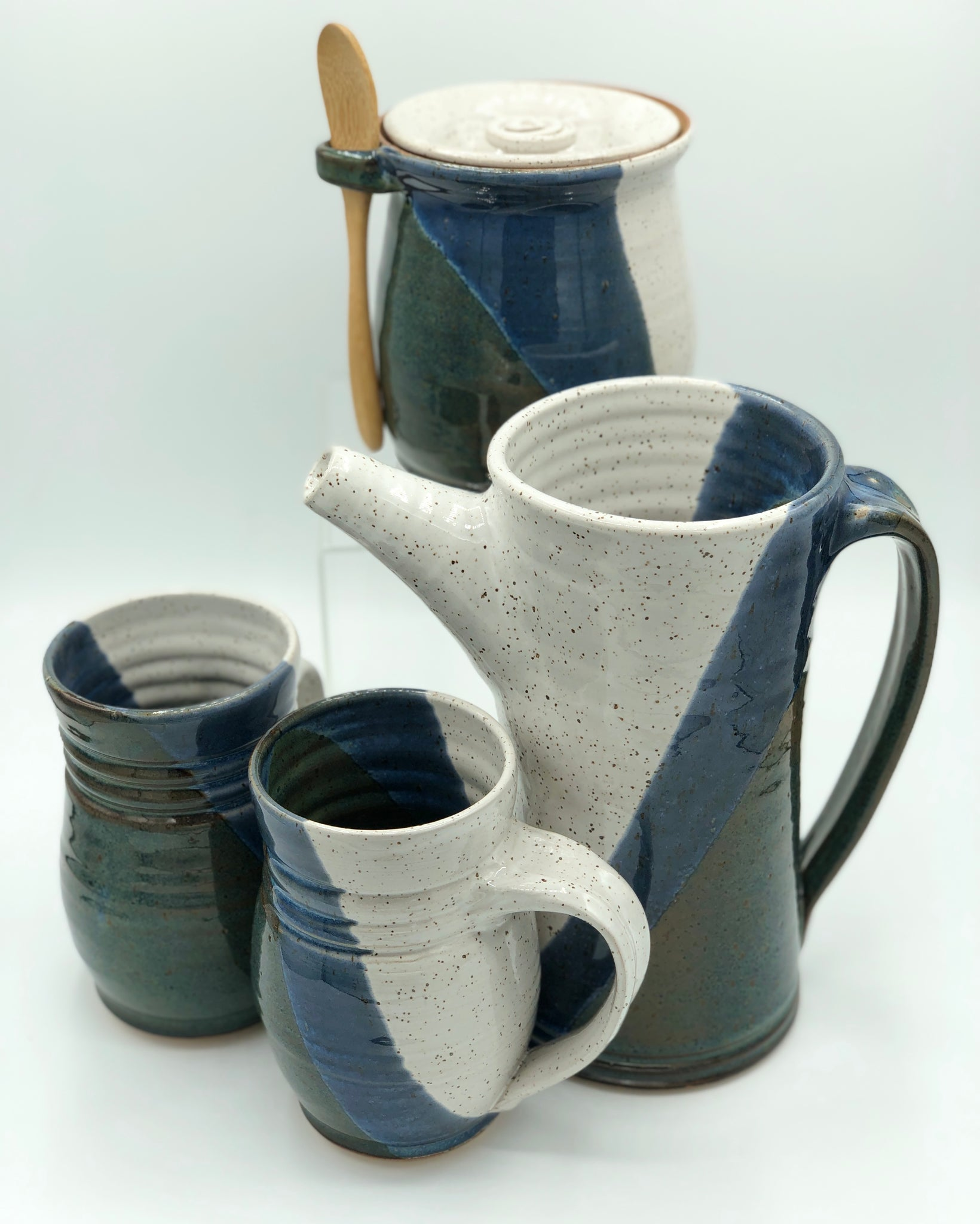 Mug, Blue + White Design