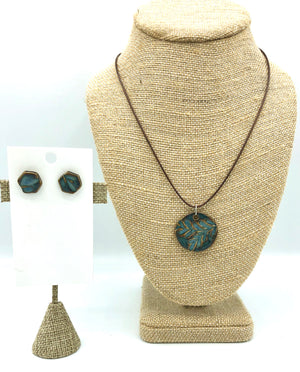 Indigo Disc Necklace/Earring Set