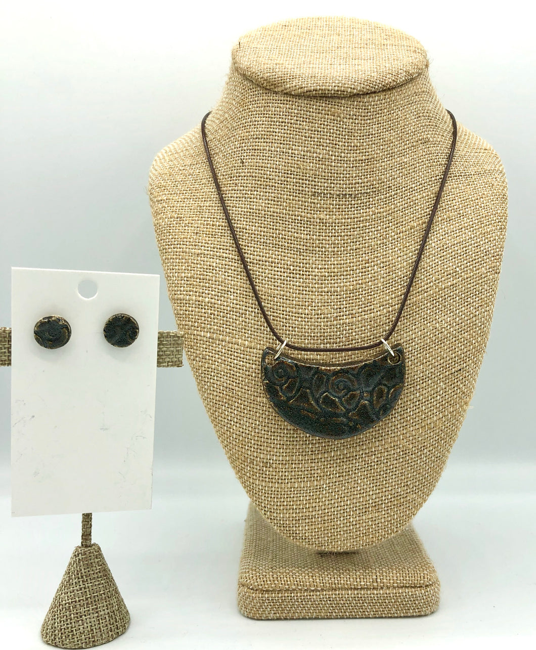 Charcoal Necklace/Earring Set