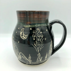 Extra Large Sgrafitto Mug, Black