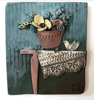 Ceramic Tile, Table with Flower Pot and Bird