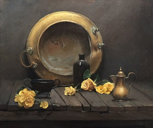 "Maureen Hyde, ""Brazier with Yellow Flowers"""