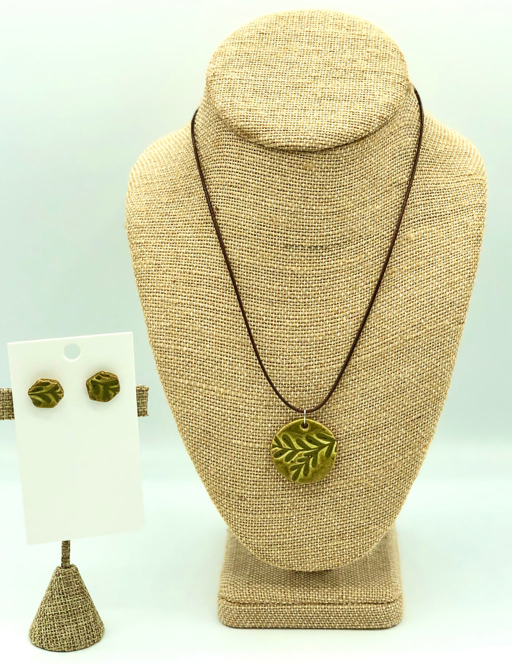 Green Disc Necklace/Earring Set