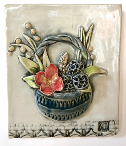 Ceramic Tile, Basket of Flowers
