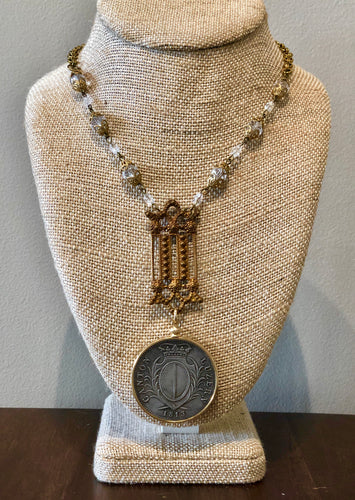 Circa 1913 Swiss coin on antique chain