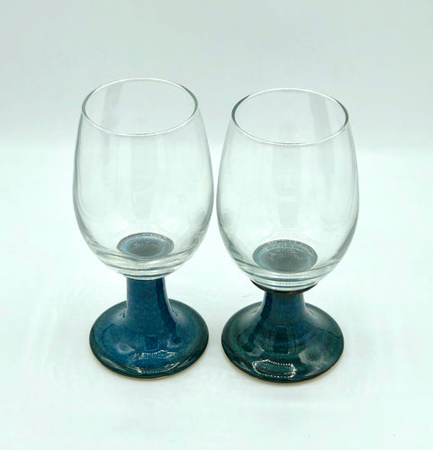 Pair of Wine Glasses with Stoneware Stems