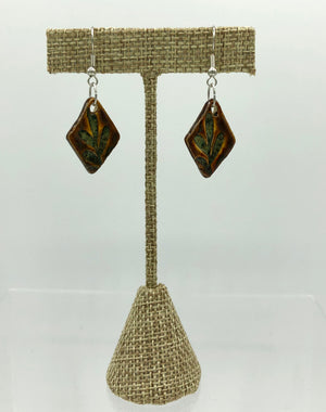 Russet Leaf Imprint Earrings