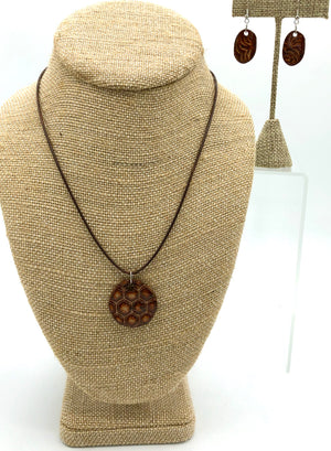 Chocolate Brown Disc Necklace/Earring Set