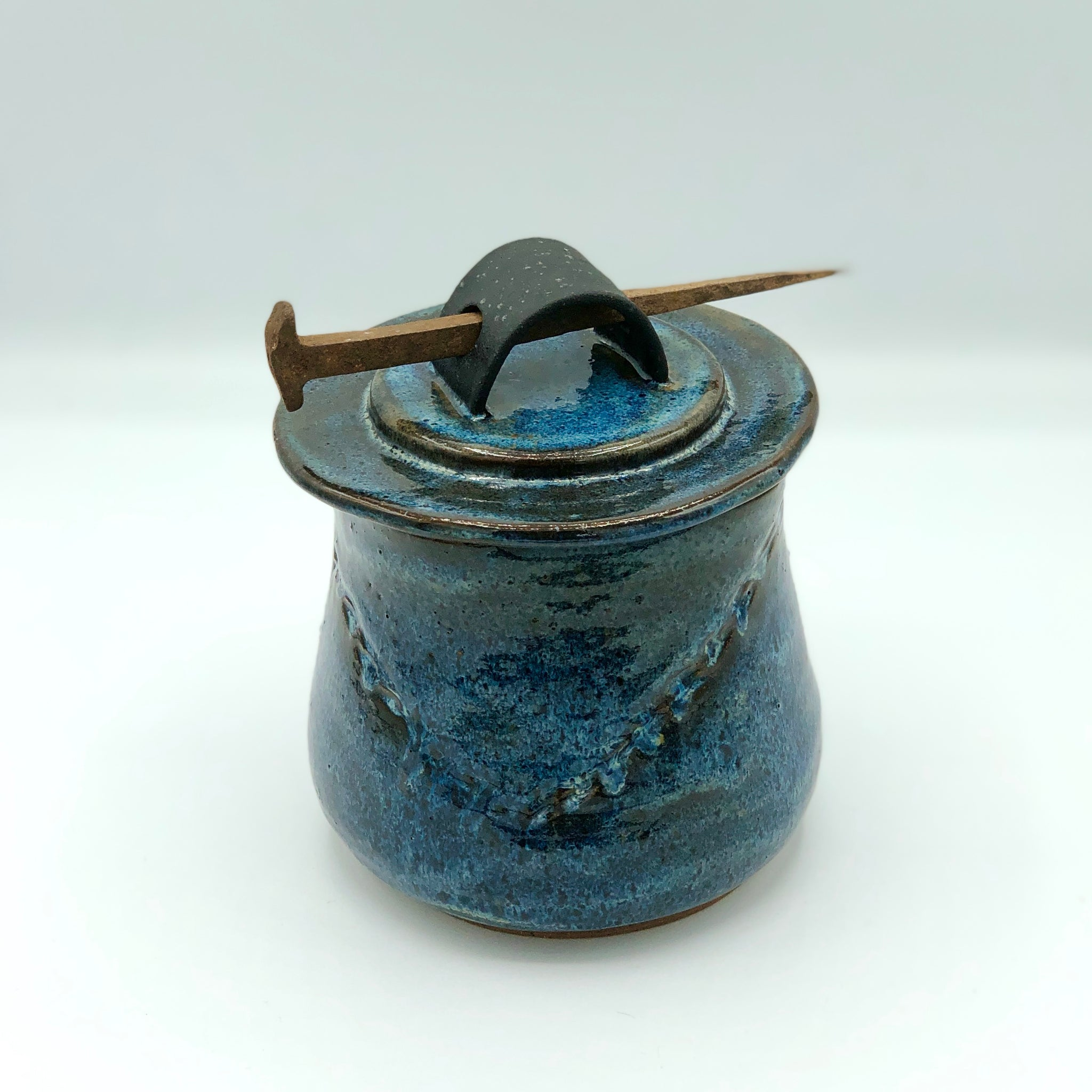 Lidded Jar with Antique Nail