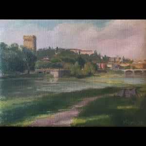 "Maureen Hyde, ""Landscape with Arno River"""