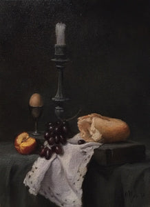 "Maureen Hyde, ""Still life with candlestick, grapes, egg & bread"""