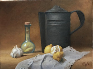"Maureen Hyde, ""Still Life With Coffee Pot, Lemons & Garlic"""