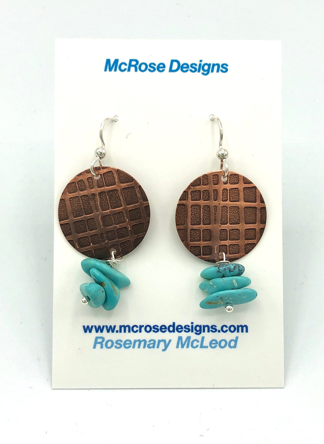 McRose Rm12 Copper Patterned Earrings with Turquoise