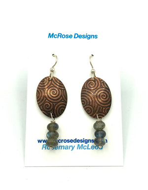 McRose Rm10 Copper Oval Earrings with Labradorite